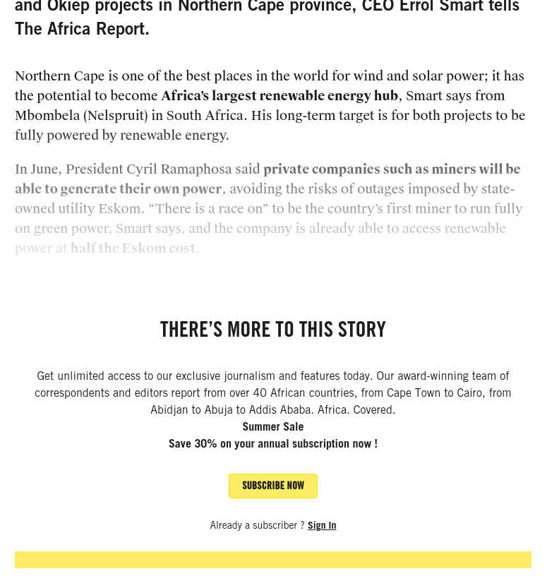 The Africa Report Success Story.