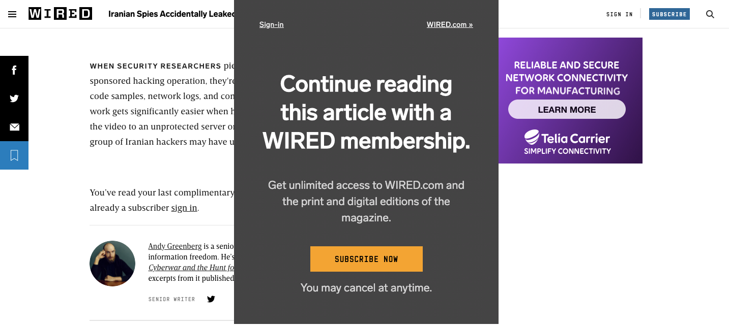 Wired Paywall: From Content, to Subscription to Content | Series.