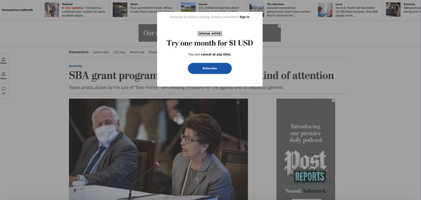 "Série | Du contenu à l'abonnement, combien de clic ? L'exemple de ""The Washington post"""